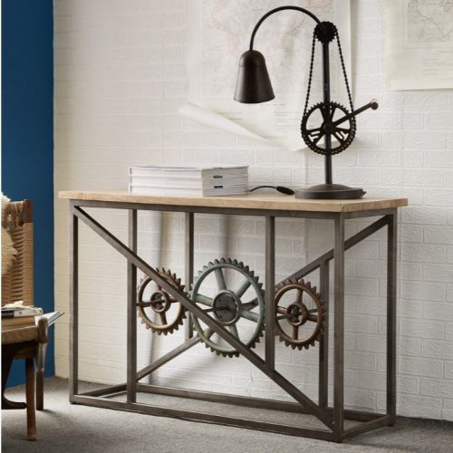 Evoke Iron / Wooden Industrial Console Table with Wheels
