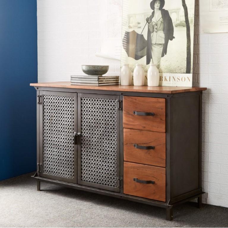 Evoke Iron / Wooden Jali 3 Drawer Sideboard