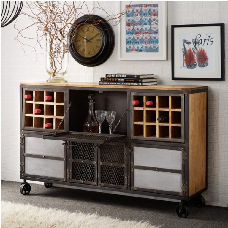 Evoke Iron / Wooden Jali Bar Cabinet