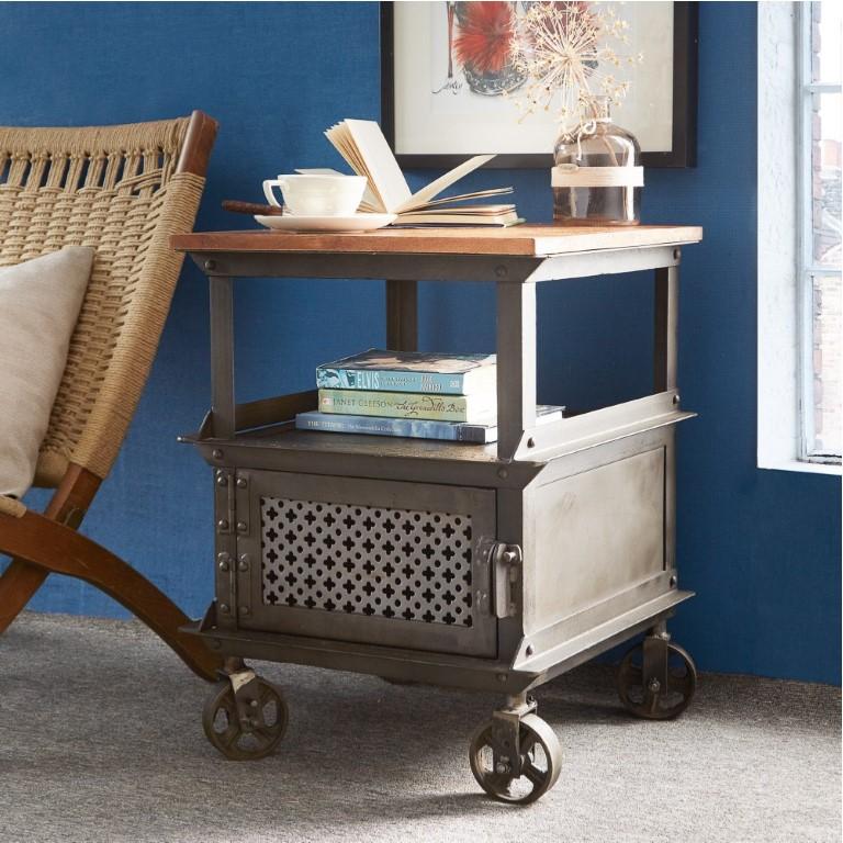 Evoke Iron / Wooden Jali Side Table