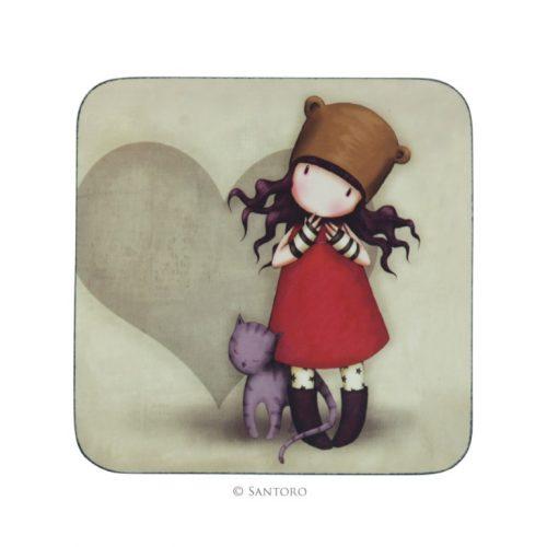 Gorjuss Coaster-Purrrrrfect Love