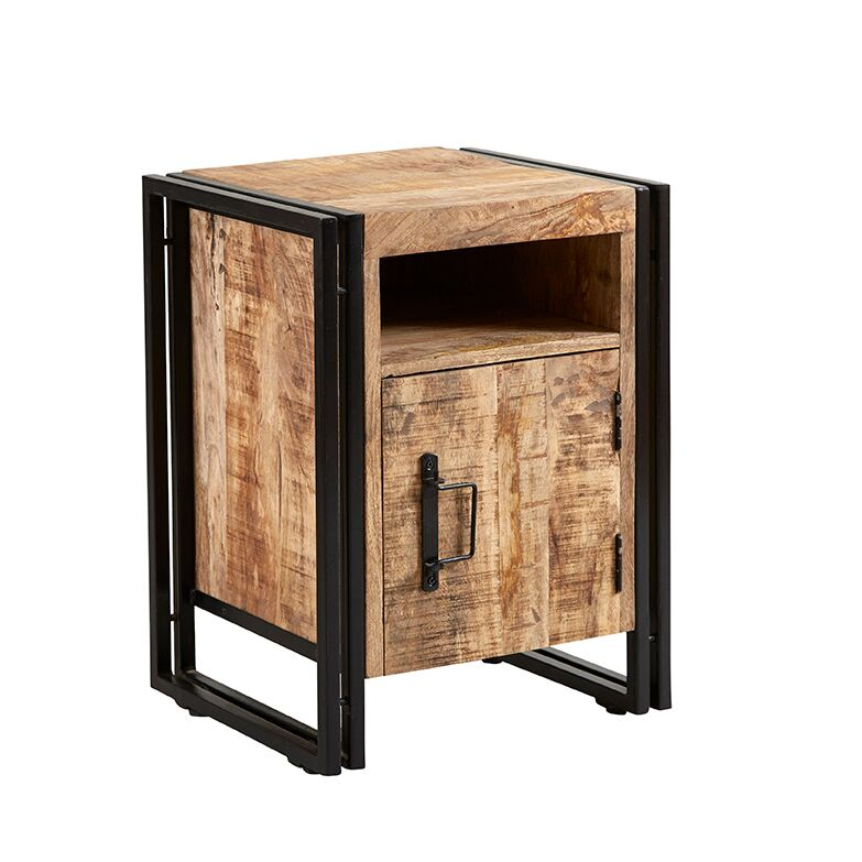 Cosmo Industrial Side Table with Door