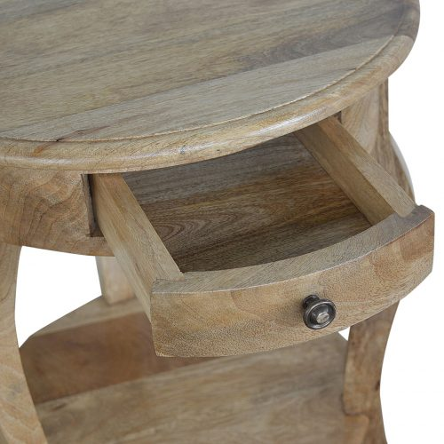 IN072 Round Side Table With Drawer and Shelf