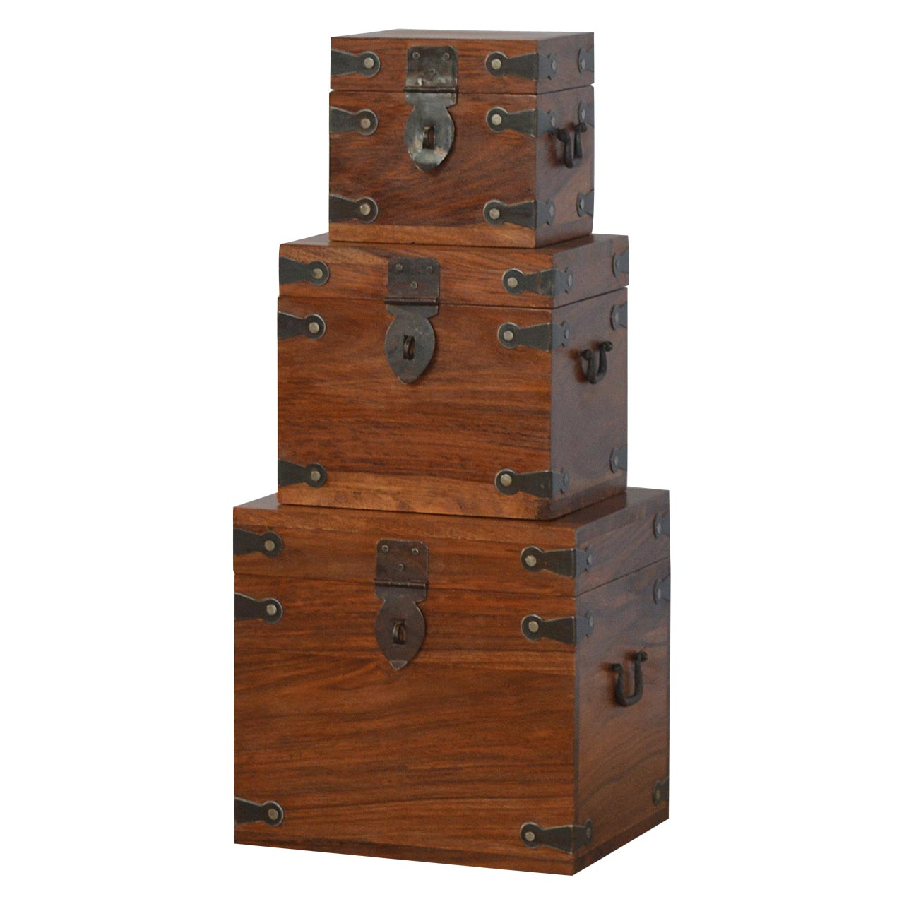IN092 Solid Wood Set Of 3 Nesting Boxes