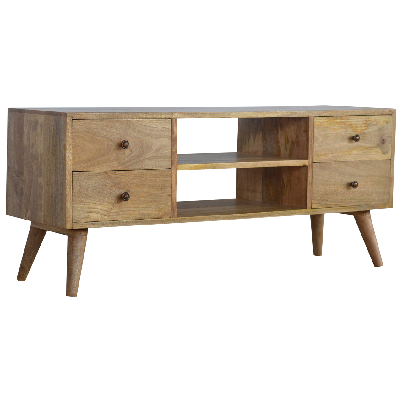 IN130 Solid Wood Nordic Media Unit With 4 Drawers