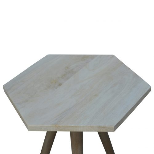 IN147 Solid Wood 6 Corner End Table