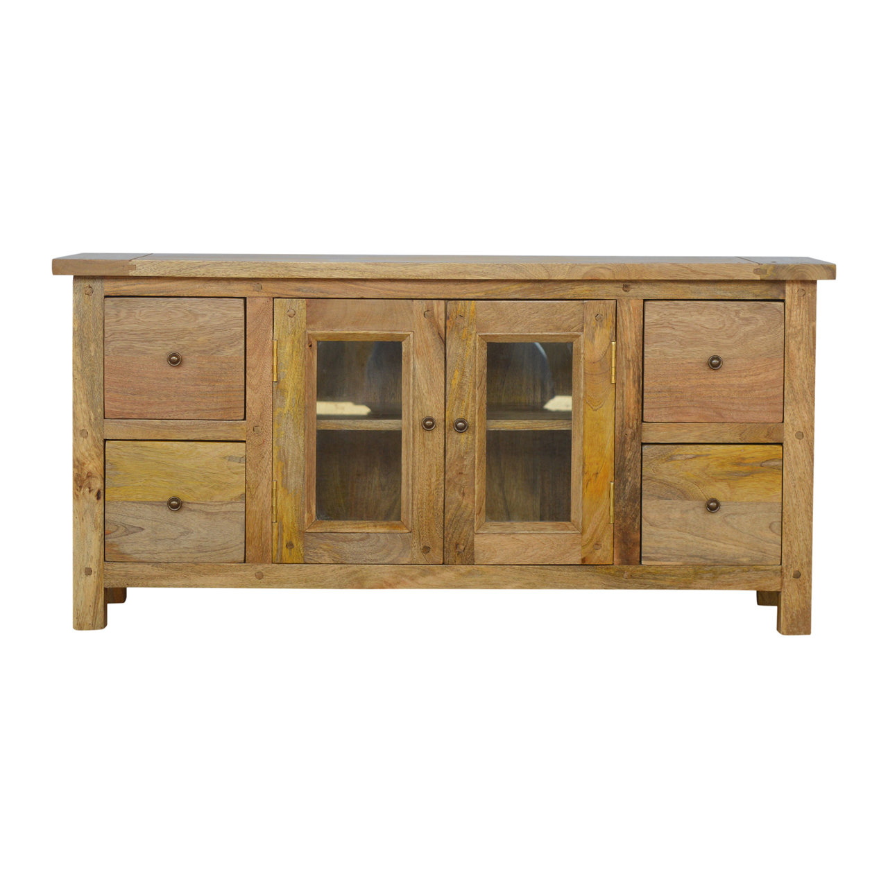 IN154 Country Style Media Unit with 4 Drawers and 2 Glazed Doors