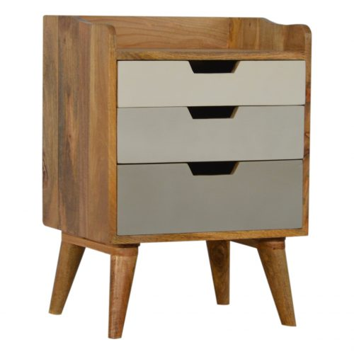 IN187 Nordic Style Bedside with 3 Drawer Painted Fronts