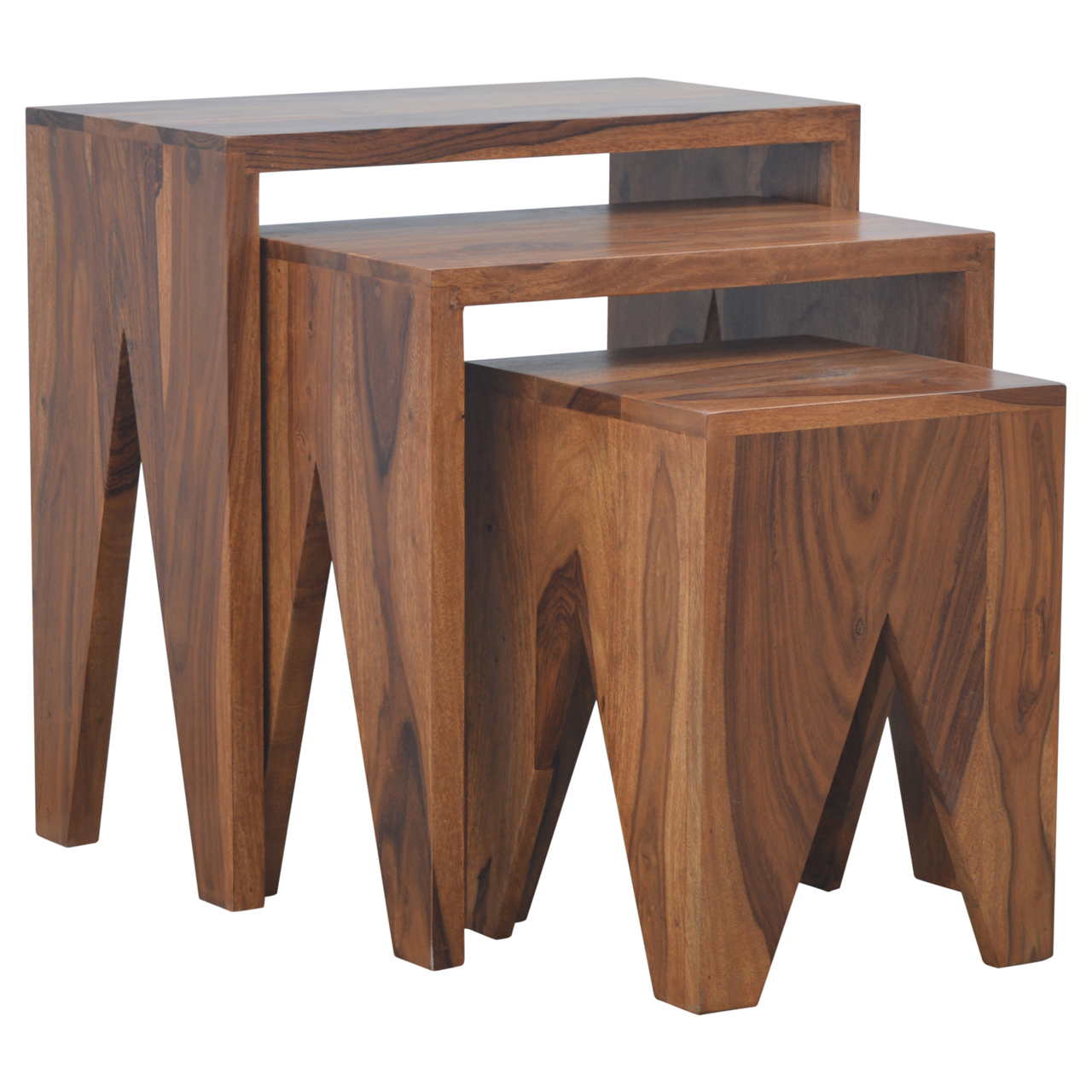 IN191 Solid Sheesham Wood Set of 3 Cut Out Nesting Table