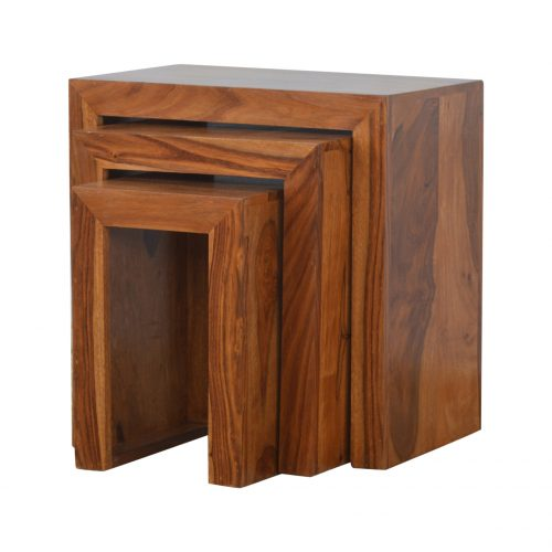 IN196 Sheesham Wood Cube Set of 3 Nesting Tables