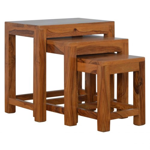 IN199 Solid Sheesham Wood Set of 3 Cut Out Nesting Table