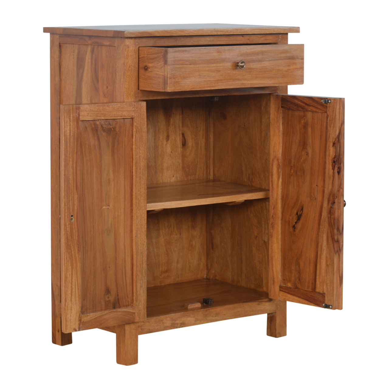 IN203 Solid Sheesham Wood 2 Door 1 Drawer Sideboard