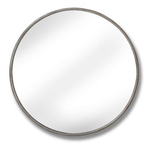 Large Antique Silver Narrow Rim Mirror