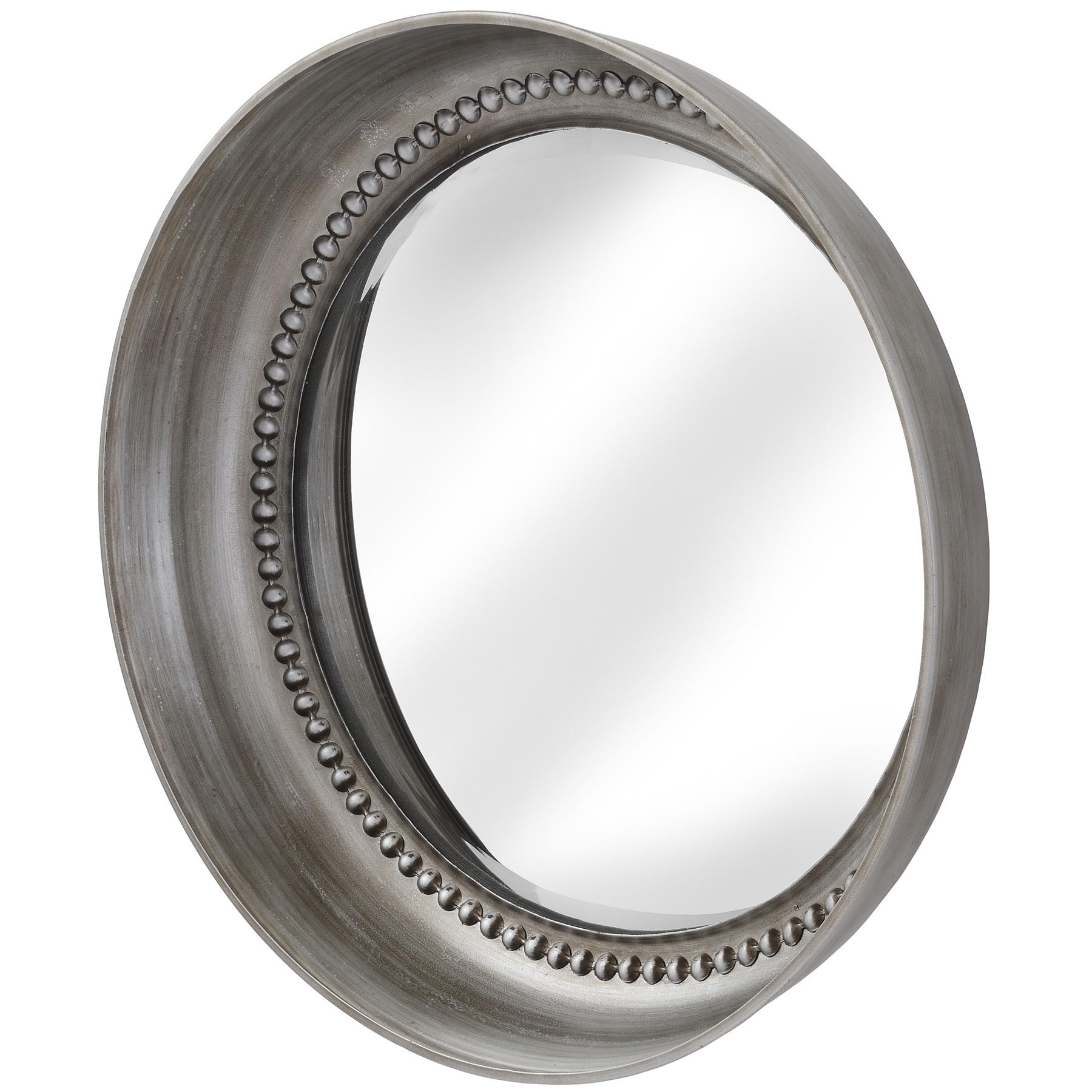 Large Silver Beaded Mirror Wall Dish