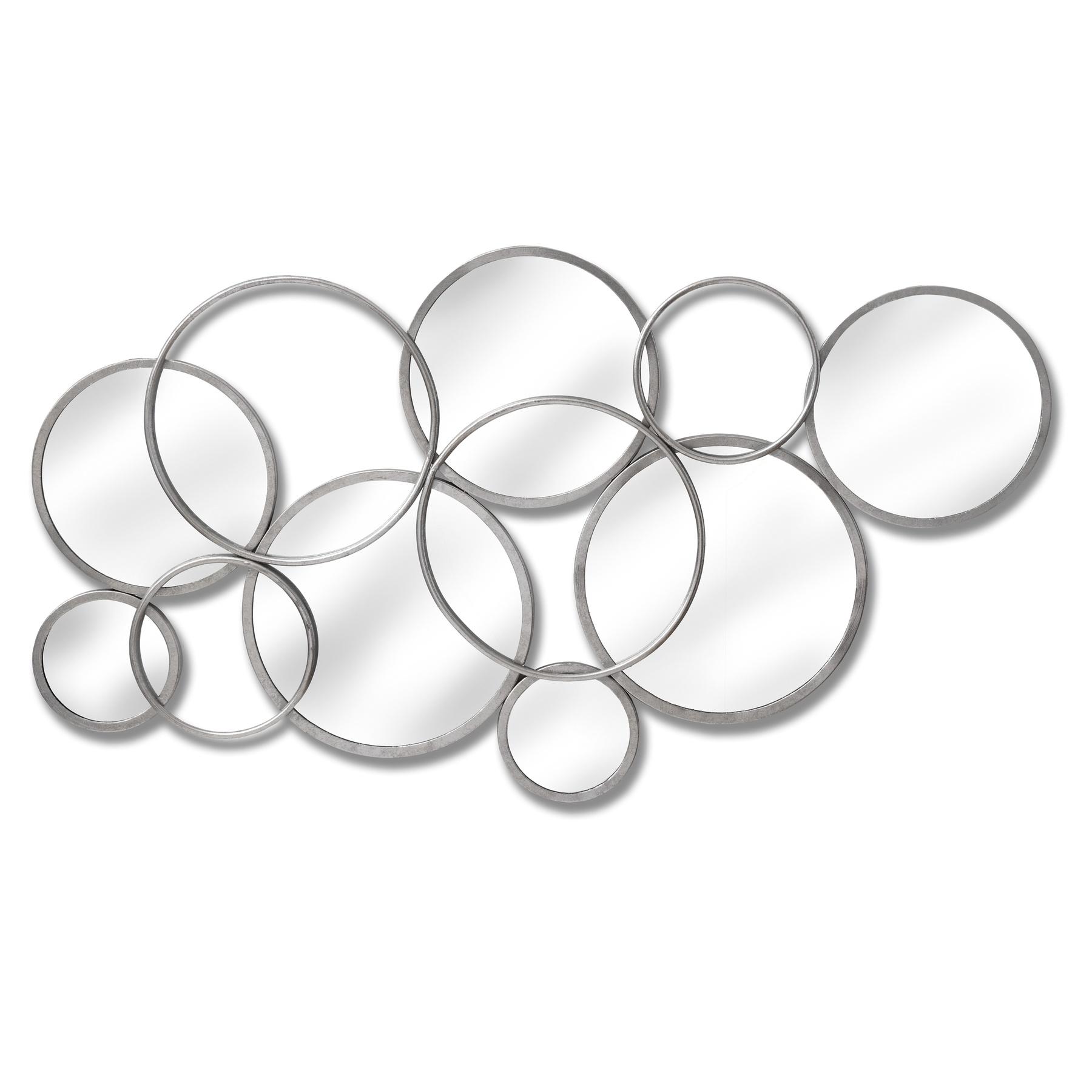 Large Silver Circular Abstract Mirrored Wall Art