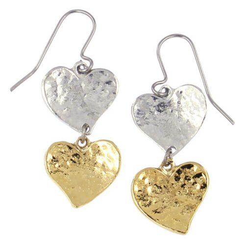 St Justin Two Tone Double Heart Earrings