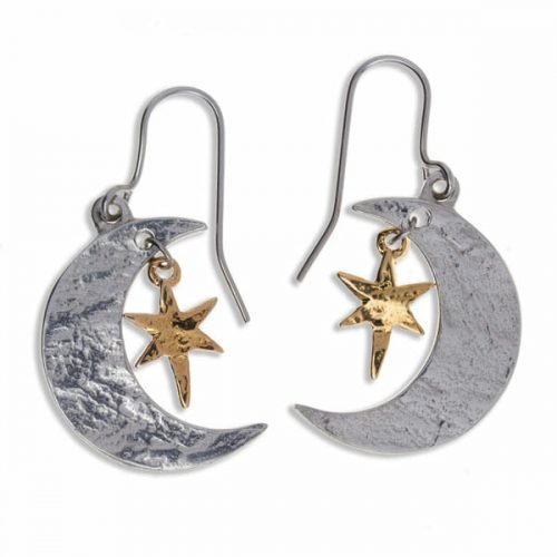 St Justin Two Tone Moon and Star Earrings