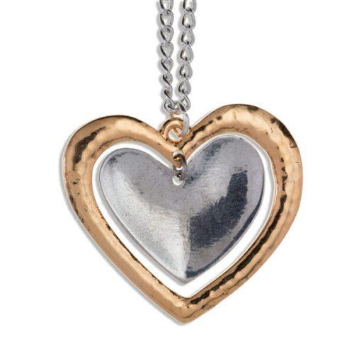St Justin Two Tone Beaten Double Heart Pendant