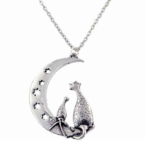 St Justin Purrfect Cats on the Moon Pendant
