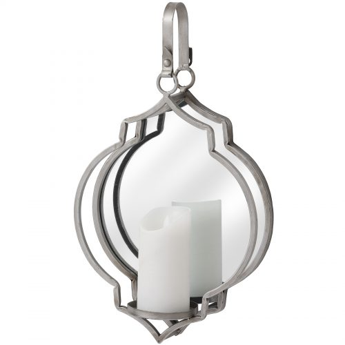 Quarterfoil Design Mirror Candle Wallhanger