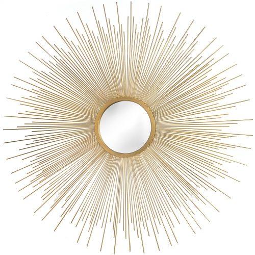 Rising Sun Gold Metal Wall Art Mirror
