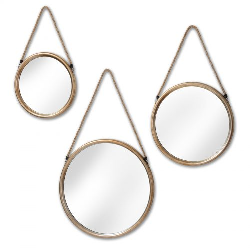 Set Of Three Round Gold Mirrors With Rope HangerSet Of Three Round Gold Mirrors With Rope Hanger