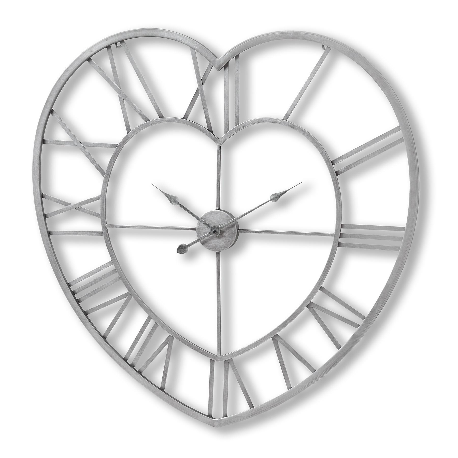 Silver Metal Frame Heart Clock