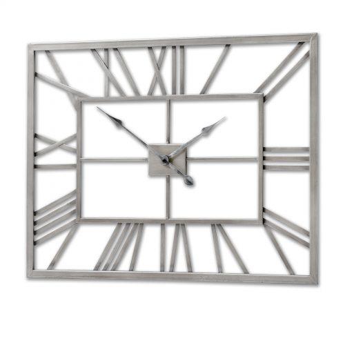 Silver Metal Frame Rectangular Clock