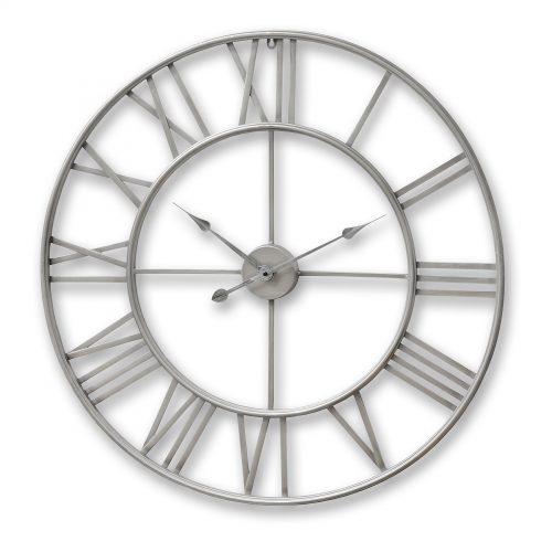 Silver Metal Frame Round Clock