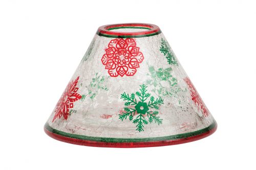 Red & Green Snowflakes large Candle Shade and Tray