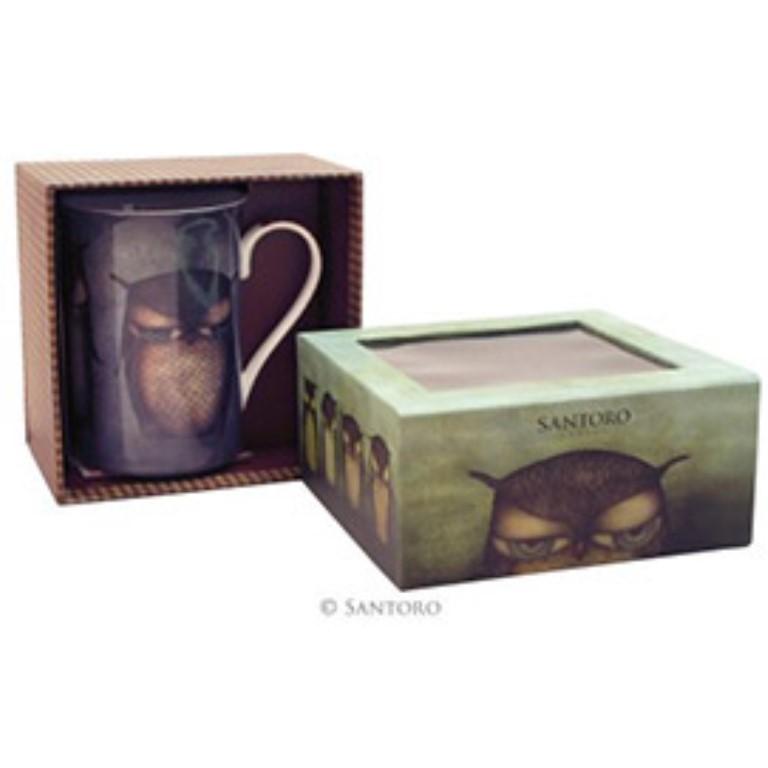Tall Mug in Gift Box - Grumpy Owl