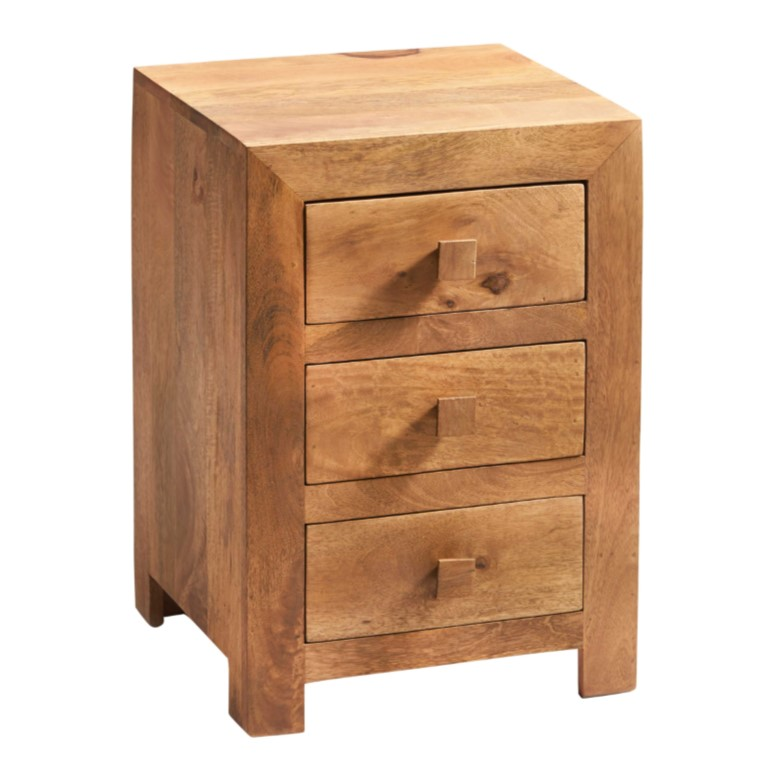 Toko Light Mango 3 Drawer Bedside Cabinet