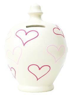 L24 Cream with Bright Pink and Pale pink hearts