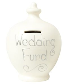 S31 Terramundi Wedding Savings moneypot Cream with Wedding Fund written in Silver