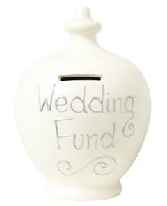 S31 Terramundi Wedding Savings moneypot Cream with Wedding Fund written in Silver