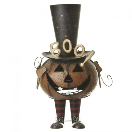 Bouncing Metal Pumpkin With Top Hat..Boo