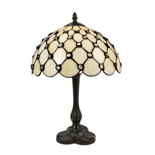 Cream Jewelled Tiffany Lamp (Medium)