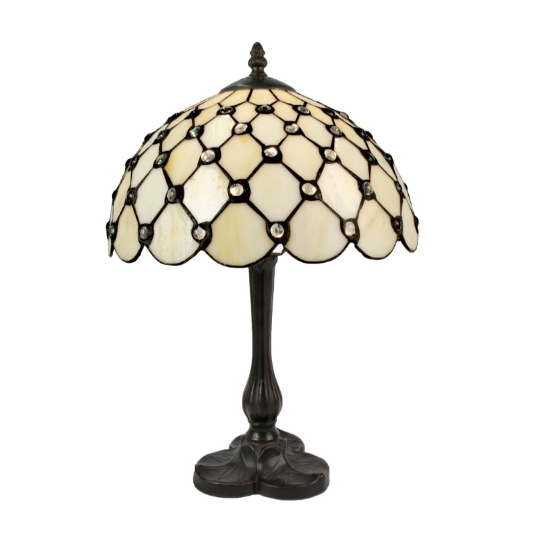 Cream Jewelled Tiffany Lamp (Medium)