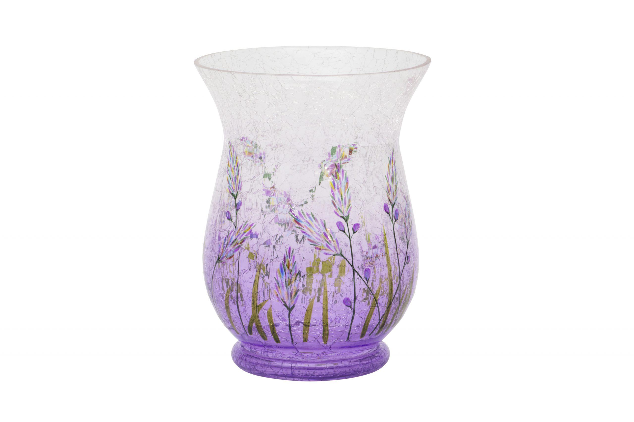 Lavender Crackle Hurricane Vase