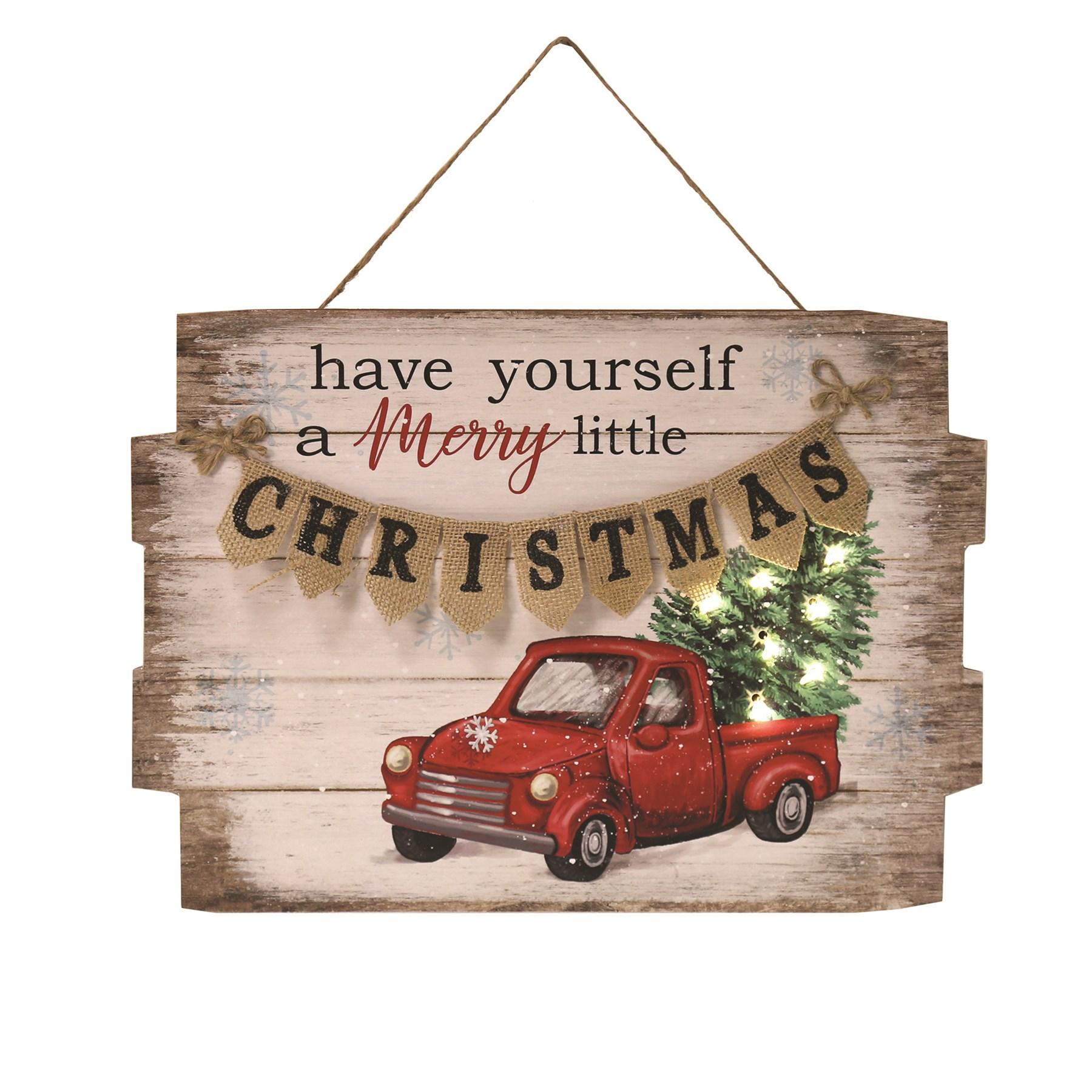 LED Christmas Truck Plaque 40x29cm