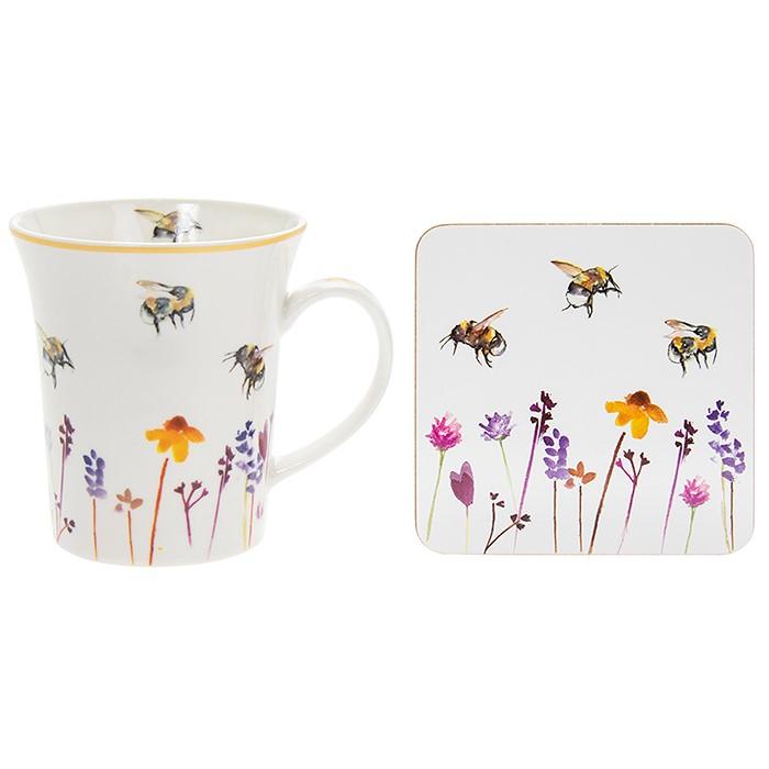 Busy Bees Mug + Coaster Gift Set