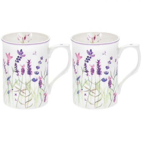 Purple Lavender Box Mugs Set of 2
