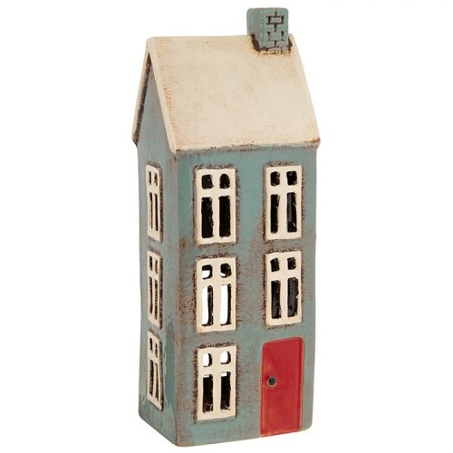 Village Pottery Tall Dark Grey House Tealight